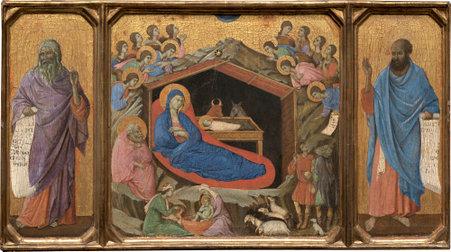 Duccio di Buoninsegna (Italian, c. 1255 - 1318 ), The Nativity with the Prophets Isaiah and Ezekiel, 1308/1311, tempera on single panel, Andrew W. Mellon Collection