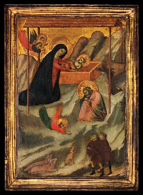 Maestro Daddesco (Italian, Florence, active ca. 1320–40) The Nativity,  Italian, Florence,  Tempera on wood, gold ground; Overall, with engaged frame, 11 5/8 x 8 3/8 in. (29.5 x 21.3 cm); painted surface 8 1/2 x 6 7/8 in. (21.6 x 17.5 cm) The Metropolitan Museum of Art, New York, Robert Lehman Collection, 1975 (1975.1.60) http://www.metmuseum.org/Collections/search-the-collections/459000